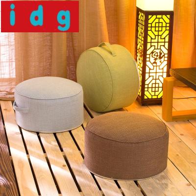 現代簡約坐墊榻榻米墊子家用客廳棉麻茶道可拆洗布藝加厚圓形地板坐墩6575購