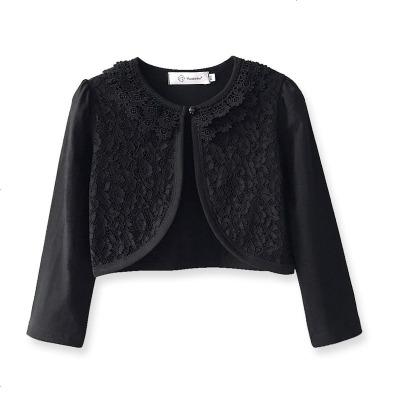 优蓓卡女童礼服披肩小外套儿童黑色披肩中大童纱裙蕾丝外搭披风