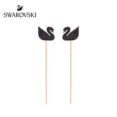 施華洛世奇 ICONIC SWAN LONG個性簡約 黑天鵝仿水晶穿孔耳環 黑色 5351805