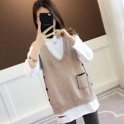 2020春季新款針織馬甲背心女韓版寬松純色無袖紐扣口袋毛衣外套潮威珺