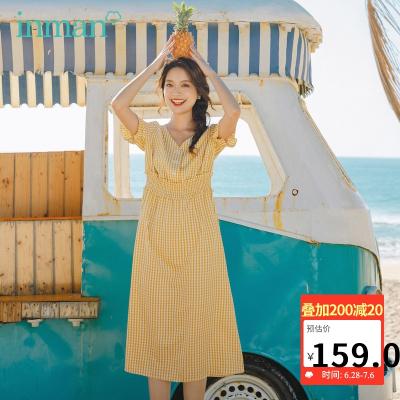 茵曼2020夏裝新款短袖連衣裙V領法式格子文藝復古燈籠袖裙子【1802136】