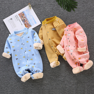 搭啵兔婴儿连体衣冬季加绒加厚保暖哈衣男女宝宝睡衣服儿爬服0-1岁