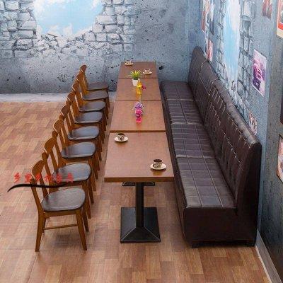 復古靠墻西餐廳卡座沙發實木餐桌椅組合 奶茶店雙人卡座沙發定制