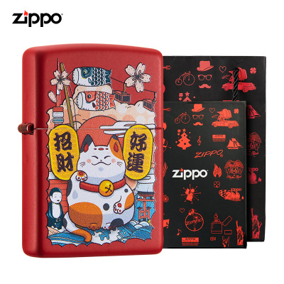 ZIPPO芝寶打火機正版可愛貓紅漆啞套裝男士ZIPPO打火機 生日禮物ZCBEC-78