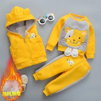 搭啵兔男童装秋冬款加绒加厚三件套装婴儿童卫衣女宝宝冬装1-3岁4外套潮