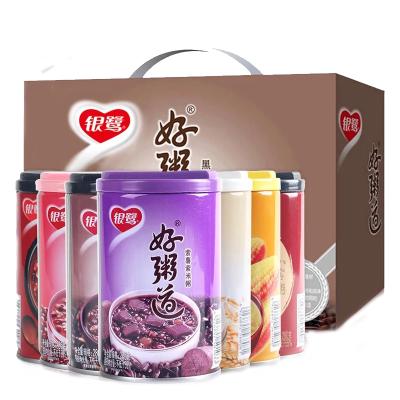 銀鷺好粥道黑米紫薯紅豆玉米燕麥八寶粥速食粥280g12罐整箱可拼