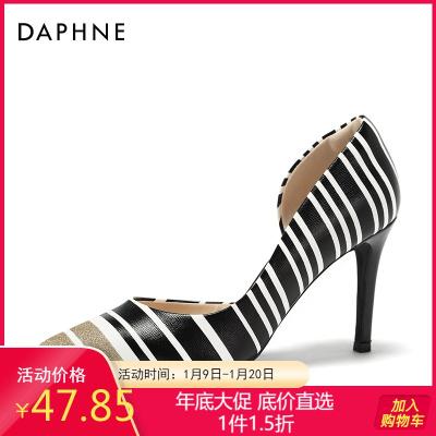 Daphne/达芙妮春新款套脚鞋女浅口酒杯跟尖头奥赛鞋1018102206