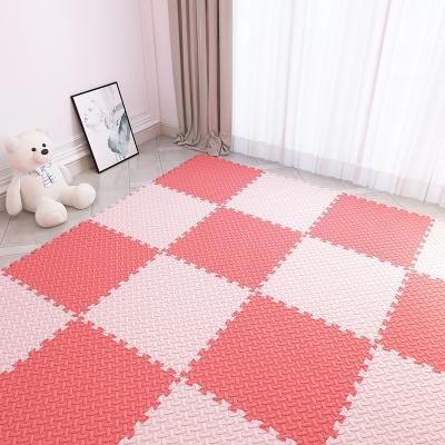 秘泡沫地垫拼接家用儿童爬爬垫卧室榻榻米加厚爬行垫海绵地板垫子 米色+粉色--送边条 30*30*1.0cm(16片装)