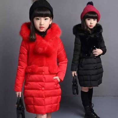 女童棉衣中长款童装冬装棉衣小中大女童加厚毛领棉服