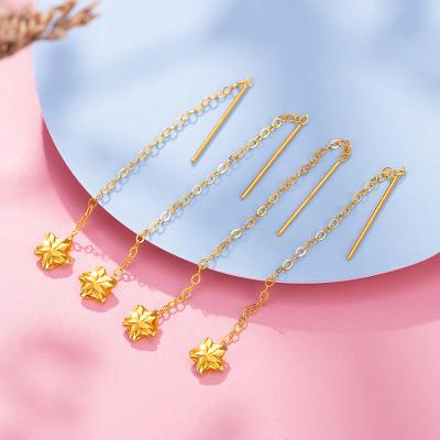 【2020新款】老廟黃金 18K金耳飾Au750玫瑰金星語耳釘耳線女