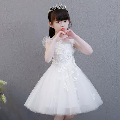 圣誕節女童公主裙蓬蓬紗兒童主持人晚禮服白色小花童婚紗裙鋼琴演出服夏