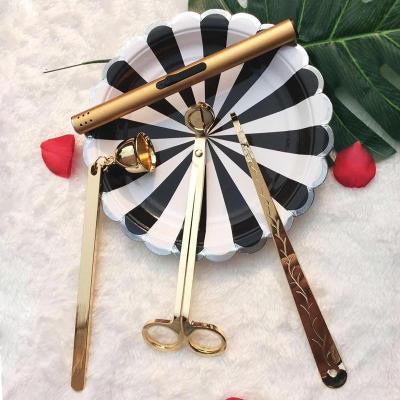 灭烛工具三件套装香薰蜡烛剪刀灭烛器灭烛罩 蜡烛钩 烛芯剪点火器 金色三件套(送金色点火器)