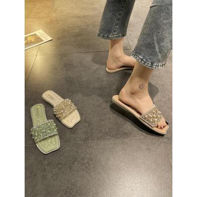 網紅拖鞋女外穿2020新款韓版百搭時尚軟底超火夏天珍珠平底一字拖