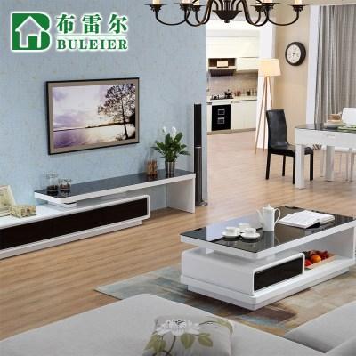 枳记家 茶几电视柜组合简约现代客厅成套家具钢化玻璃地柜#0229