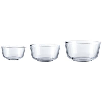 Ocean進口無鉛玻璃沙拉碗加厚水果碗耐熱米飯碗面碗湯碗大中小3件套