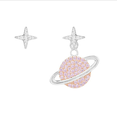 APM Monaco【林志玲同款】女士 銀色S925銀時尚飾品粉色鑲晶鉆鋯石 耳環首飾銀耳飾 AE10559XORW