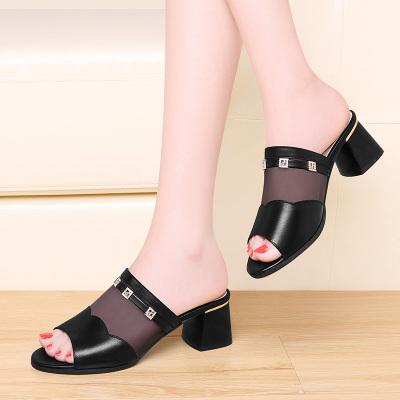 古奇天倫高跟拖鞋女粗跟夏季牛皮時尚外穿中跟鏤空魚嘴涼拖鞋5110