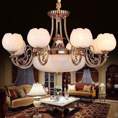歐式云石燈客廳全銅云石吊燈歐式美式吊燈全銅高端別墅燈具定制 仿云石(玻璃)-5頭