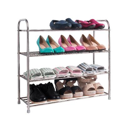 四季沐歌(MICOE)置物架多層不銹鋼鞋架時尚簡易鞋柜