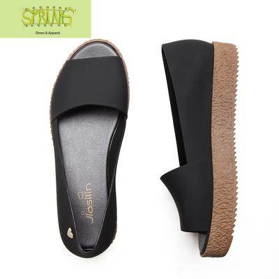 夏季魚嘴涼鞋 甜美中跟厚底果凍鞋松糕跟羅馬鞋防水雨鞋沙灘鞋女  語婁