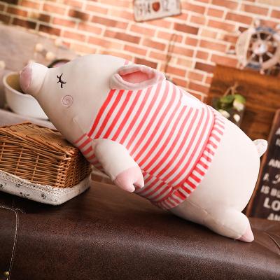 鴟吻毛絨玩具豬條紋香豬抱枕公仔抱著睡覺的娃娃女生可愛女孩趴趴豬靠墊娃娃(80cm 紅色)