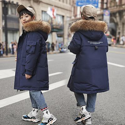 TOGOLUNE儿童羽绒服男童中长款2019新款韩版男童宝宝加厚大毛领外套批