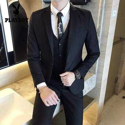 花花公子 ( PLAYBOY ICON )新款西服套裝三件套男士修身韓版商務休閑青年職業新郎結婚禮服