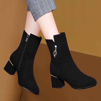 帝紫规时尚新款短靴女粗跟秋冬新款厚底中筒马丁靴学生成人加绒靴子女士靴子鞋瘦瘦靴