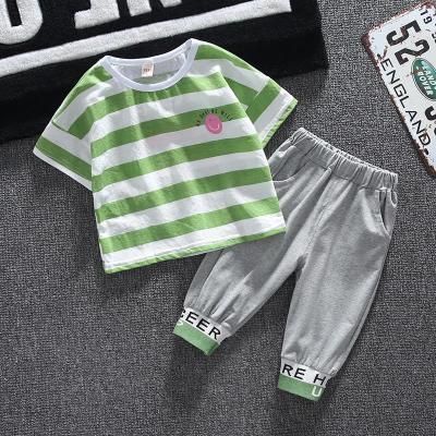 男童套裝夏款兒童夏裝寶寶夏季帥氣短袖條紋兩件套潮嬰兒夏天薄款莎丞