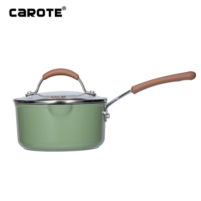 Carote 麥飯石奶鍋不粘鍋泡面鍋18cm田園風熱牛奶鍋少油煙寶寶輔食鍋日式雪平鍋電磁力燃氣灶通用
