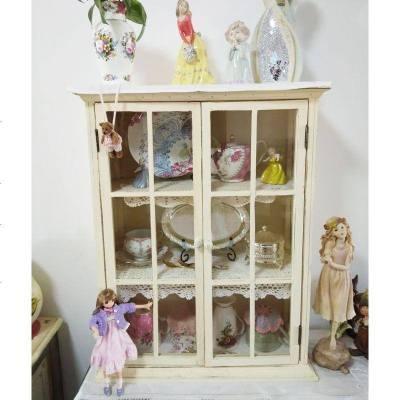 法式鄉村復古實木做舊玻璃壁柜衛生間廚房吊柜展示柜收納儲物柜