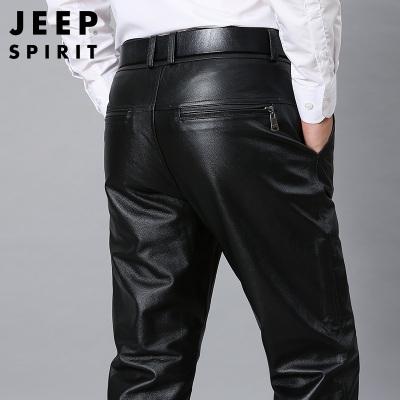 JEEP SPIRIT吉普真皮皮褲冬季中青年男士時尚中腰褲寬松機車防風摩托直筒長褲