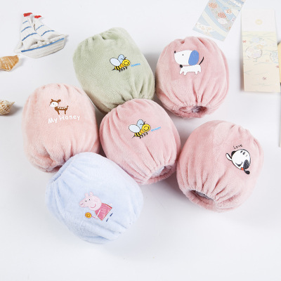 taoerj短款寶寶可愛毛絨袖套 嬰幼兒防污護袖秋冬卡通口水巾兒童袖套其他12-18個月隨機發貨