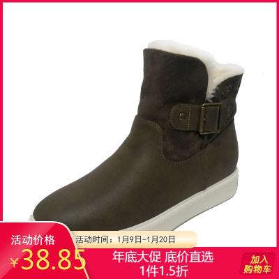达芙妮旗下SHOEBOX/鞋柜冬休闲加厚反边两穿学院女靴棉靴雪地靴