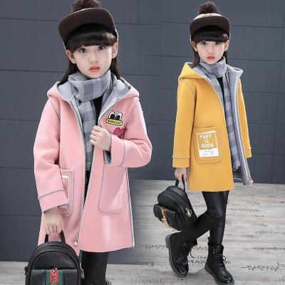 2018新款童装秋冬装中大女童韩版加绒毛呢中长款外套
