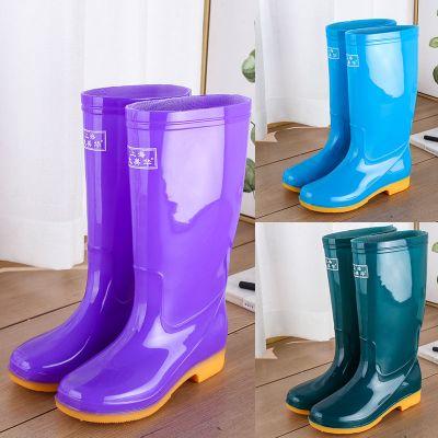 高筒女士雨鞋加絨棉長筒水鞋防滑膠鞋套鞋工作鞋時尚雨靴水靴保暖 莎丞