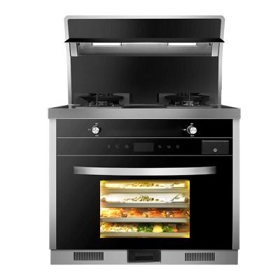 歐尼爾(OUNIER)LX9-BZK 側吸式一體灶環保灶雙電機自動清洗油煙機燃氣灶電蒸烤箱 天然氣集成灶