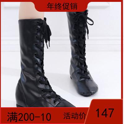 高帮舞蹈鞋女软底爵士鞋PU皮爵士靴现代舞民族舞内外练功芭蕾舞鞋