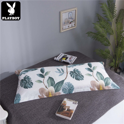 花花公子(PLAYBOY)雙人枕套簡單舒適全棉床上用品全棉斜紋雙人枕套120*45cm