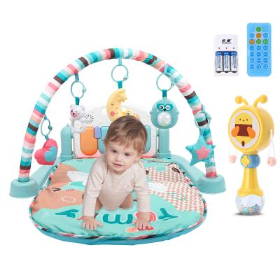 貝恩施 嬰兒玩具健身架寶寶音樂電子琴男孩女孩新生兒童玩具益智腳踏鋼琴0-1歲【充電款】多功能遙控健身架