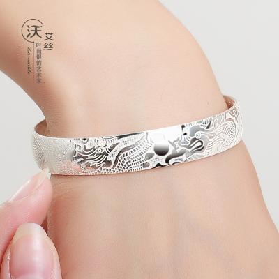 春节礼物  龙凤银手镯女 足银镯子送母亲女士99足银雕花送妈妈奶奶刻字
