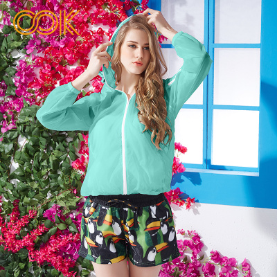 OOK嫩綠色比基尼罩衫游泳外套輕薄空調衫外搭運動風衣