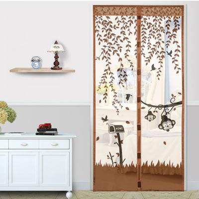 防蚊門簾磁性家用靜音紗窗紗網自吸夏季紗門-猴子咖啡+2包粘扣-寬95X高210CM
