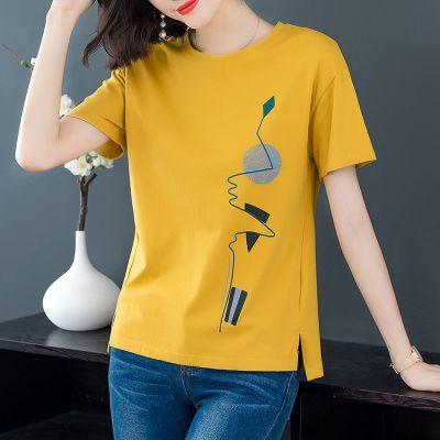 短袖T恤女2020夏季新款女裝韓版寬松大碼圓領體恤純色印花上衣潮 娜蜜雨(NAMIYU)