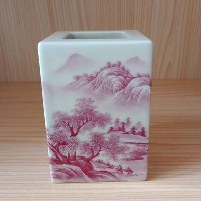 景德鎮陶瓷手繪山水釩紅手工筆筒家居飾品擺件瓷高檔禮物