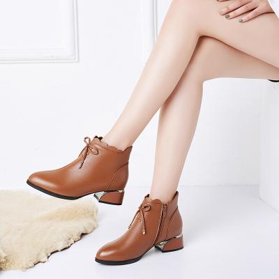 策霸头层牛皮2019新款女鞋短靴加绒真皮女靴保暖妈妈鞋粗跟马丁靴女百搭短靴女