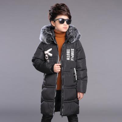 潮流時尚修身童裝男童中長款棉衣連帽加厚保暖兒童棉服中大童韓版大毛領舒適外套帥氣