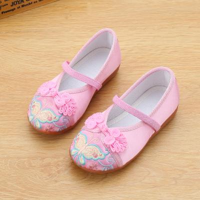 尚品杭兒童手工布鞋女童鞋民族風繡花鞋舞蹈表演出鞋女休閑鞋學生