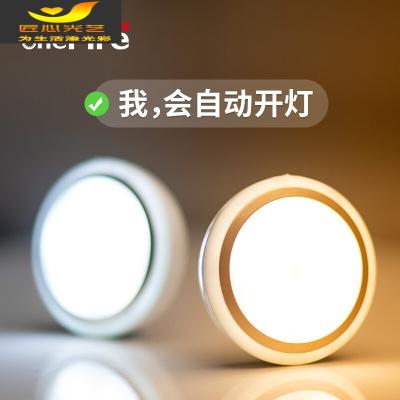 自动led人体感应小夜灯充电池式吸顶声控楼道卫生间夜间小灯床灯