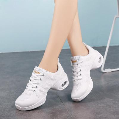 因樂思(YINLESI)廣場鞋紅色網面透氣舞蹈鞋女軟底防滑跳鞋